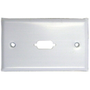 CableWholesale 301-1-9 Wall Plate, White, 1 Port fits DB9 or HD15 (VGA), Painted Stainless Steel