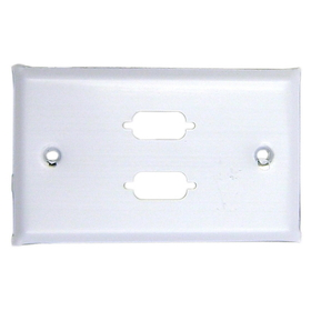 CableWholesale 301-2-9 Wall Plate, White, 2 Port DB9 / HD15 (VGA), Single Gang, Painted Stainless Steel