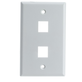 CableWholesale 301-2K-W Keystone Wall Plate, White, 2 Hole, Single Gang