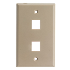 CableWholesale 301-2K Keystone Wall Plate, Beige, 2 Hole, Single Gang