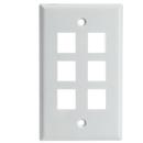 CableWholesale 301-6K-W Keystone Wall Plate, White, 6 Hole, Single Gang