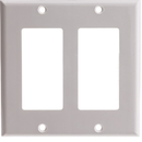 CableWholesale 302-2-W Decora Wall Plate, White, 2 Hole, Dual Gang