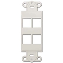 CableWholesale 302-4D-W Decora Wall Plate Insert, White, 4 Keystone Jack
