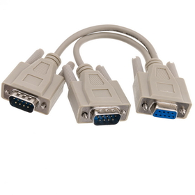 CableWholesale 30D1-27308 DB9 Serial Y adapter, DB9 Female to Dual DB9 Male, 8 inch