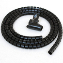 CableWholesale 30SL-02120 5ft Split Loom Cable Wrap, Black, 20mm diameter, Cable Management Wraps with Tool