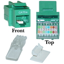 CableWholesale 311-120GR Cat5e Keystone Jack, Green, Toolless, RJ45 Female