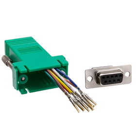 CableWholesale 31D1-1740GR Modular Adapter, Green, DB9 Female to RJ45 Jack
