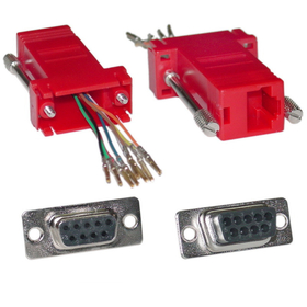 CableWholesale 31D1-1740RD Modular Adapter, Red, DB9 Female to RJ45 Jack