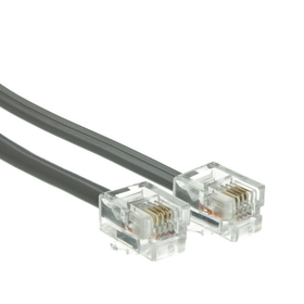 CableWholesale 8101-64101 Telephone Cord (Data), RJ11, 6P / 4C, Silver Satin, Straight, 1 foot