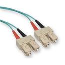 CableWholesale SCSC-31002 10 Gigabit Aqua Fiber Optic Cable, SC / SC, Multimode, Duplex, 50/125, 2 meter (6.6 foot)