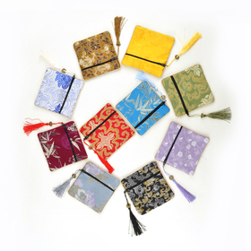 "Aspire Silk Brocade Pouch with Zipper, Wedding Favor Bags, 4-1/2"" x 4-1/2"", Assorted Colors, Wholesale Lot, Graduation Gift, Price/20 Pcs"
