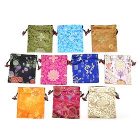 "Aspire Silk Brocade Jewelry Pouch Bags with Drawstring, Wedding Favor Bags, 5-1/2"" x 5-1/2"", Assorted Colors, Wholesale Lot, Price/20 Pcs"