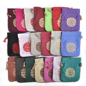 "Aspire Cotton and Linen Pouch with Drawstring, Wedding Favor Bags, 4-1/2"" x 5-1/2"", Assorted Colors, Wholesale Lot, Price/20 Pcs"