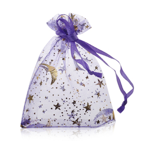 "Aspire Organza Drawstring Pouch with Golden Moon & Stars, Wedding Favor Bags, 2-3/4"" x 3-1/2"", Assorted Colors, Wholesale Lot, Price/500 Pcs"