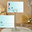 Cassiani Collection CH-9018 Metal Place Card Holder with Pink and Blue Baby Shower Design Card