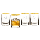 Cathy's Concepts 1118G-4 Personalized 11 oz. Gold Rim Whiskey Glasses
