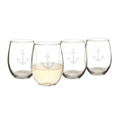 Cathy's Concepts ACH-1110 21 oz. Stemless Anchor Wine Glasses (Set of 4)