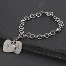 Cathy's Concepts B9130S Personalized Double Heart Charm Bracelet