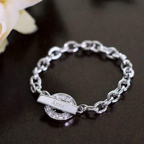 Cathy's Concepts B9161S Personalized Rhinestone Toggle Bracelet