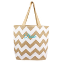 Cathy's Concepts BRD-2138W Bride Chevron Natural Jute Tote Bag