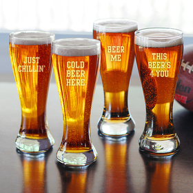 Cathy's Concepts CBH1122 Cold Beer Here Pilsners (Set of 4)