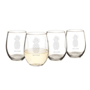 Cathy's Concepts PIN-1110 Personalized 21 oz. Pineapple Stemless Wine Glasses