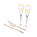 Cathy's Concepts S1780G Personalized Gold Champagne Flutes & Cake Serving Set