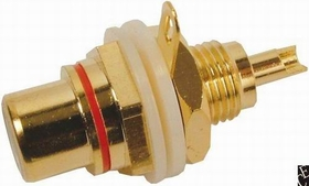 Jack - RCA Chassis Mount, Front Mount, Gold Plated, Red