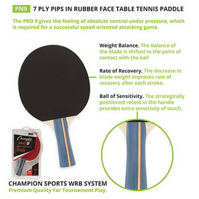 Champion Sports Pn9 Table Tennis/Ping Pong Racquet/Paddle/Racket, Price/ea