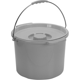 Commode Pail With Lid 12 Quart  Gray