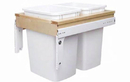 Rev-A-Shelf 4WCTM-18DM2-419-FL Double Top Mount Frameless Wood Waste Containers, 35 QT - Natural / White