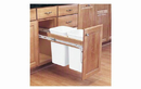 Rev-A-Shelf 4WCTM-21DM2-495-FL Double Top Mount Frameless Wood Waste Containers, 19-1/2