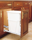 Rev-A-Shelf RV-12PB S Single Bottom Mount White Wire Full Extension Slides Waste Containers, 35 QT - White / White