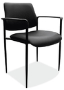 Office Source 1022BLK Blk Soft Vinyl Guest Stack W/Arms
