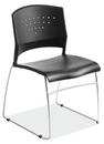 Office Source SC1400BLK Blk/Chrome Stackable Side Chair