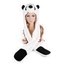 TopTie Faux Fur Cute Animal Ears Hat, Mittens Scarf Hood - Panda Hat
