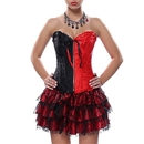 Muka Women's Brocade Bowknot Overbust Corset Plus Size Bustier Top With Thong