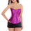 Muka Women's Strapless Satin Overbust Corset Lace-up Waist Training Bustier