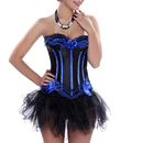 Muka Women's Bowknot Lace Corset Bustier Lingerie Cosplay Costume With Thong