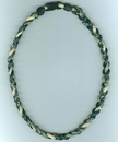 Titanium Ionic Braided Necklace - Green/Wheat