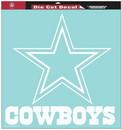 Dallas Cowboys Decal 8x8 Die Cut White
