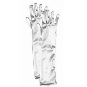 FORUM NOVELTIES 65503F Girls Long White Satin Gloves