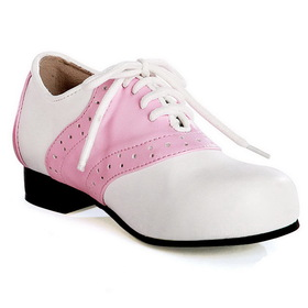 E105-SADDLE-9 Women's Pink and White Saddle Shoe