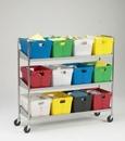 Charnstrom B165 Extra long, Three Shelf Mobile 12 Bin Cart