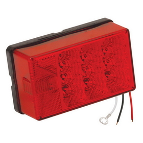 "Wesbar 4"" x 6"" Waterproof LED 8-Function, Left/Roadside w/3 Wire 90 deg Pigtail Trailer Light"