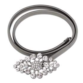 TopTie Rhinestone Flower Buckle Elastic Waist Belt - Silver Grey