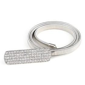 TopTie Rhinestone Buckle Spring Waist Belt - Silver