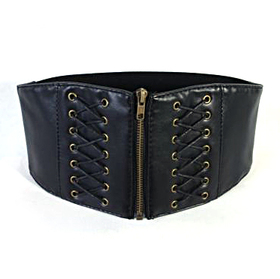 "Retro Style Zipper Closure 4"" Wide Waist Belt - Black"