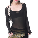 BellyLady Women Tribal Sheer Stretchy Long Sleeve Belly Dance Yoga Top