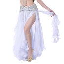 BellyLady Women's Belly Dance White Chiffon Ruffle Skirt With Side Split